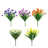 Artificial Fake Flowers 5 Bundles of 5 Colors Outdoor UV...