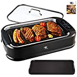 KCZAZY Electric Smokeless Grill with Glass Lid, Indoor and...