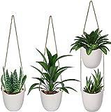 4pcs White Ceramic Hanging Planters for Indoor Plants, EIVOTOR...