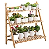 unho 3 Tier Bamboo Plant Stand Outdoor Indoor Flower Stand...