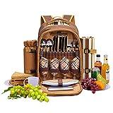 apollo walker 4 Person Picnic Backpack Hamper Cooler Bag with...