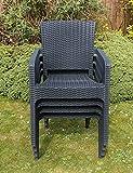 4 x Garden Patio Bistro Chairs Grey Plastic Rattan Design...