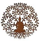 Wonderful large 60cm dia. rustic round steel metal Bodhi Buddha...