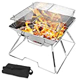 Odoland Collapsible Campfire Grill Camping Fire Pit, 304...