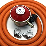 Patio Gas Regulator 27Mm Clip On With 1M Hose + 2 Clips Fits...