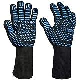 GEEKHOM BBQ Gloves, 800 ℃ / 1472 ℉ Extreme Heat Resistant...