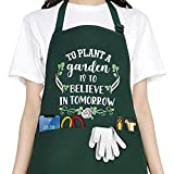 Funny Garden Aprons for Women, Waterproof Kitchen Aprons with 2...