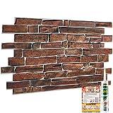 Stone Slate Effect 3D Wall Cladding - Set of 4 Panels 1.93 m² |...