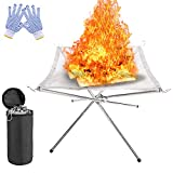 zhuolang Portable Fire Pit Outdoor Fireplace with Carrying Bag...