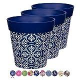 Hum Flowerpots, set of 3 blue plastic Maroc Tile, colourful...