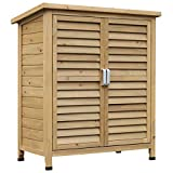 Outsunny Garden Shed Wooden Garden Storage Shed 2 Door Unit Solid...