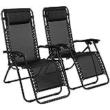 Reclining Zero Gravity Chairs Black Heavy Duty Folding Portable...