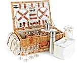 Luxury Fitted Picnic Hamper Basket, 4-Person (23')