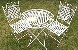 Maribelle White Round Metal Floral Designed Folding Outdoor...