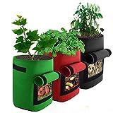 mifengdaer 3 Pack Potato Grow Bag 7 Gallon Vegetable Growing Bag...