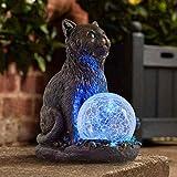 garden mile Solar Powered Outdoor Light Cat Statue, LED Garden or...