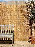 Papillon Bamboo Slat Natural Garden Fence Screening Roll Privacy...