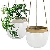 La Jolíe Muse Ceramic Hanging Planters Plant Pots - 14cm White...