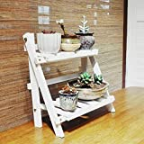 Wyi 2 Tier Hanging Plant Stand, Foldable Ladder Shelf, Wooden...