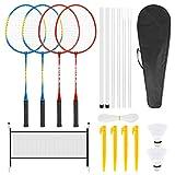 Achort Badminton Set, 4 Player Badminton Rackets for Kid Adult...