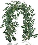 Falflor 2Pcs Greenery Garland 6.5Ft Artificial Eucalyptus Garland...