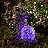 garden mile Solar Powered Outdoor Light Dog Statue, LED Garden or...