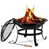 Large Steel Metal Fire Pit for Outdoor Garden Patio Heater...