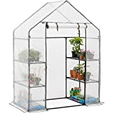 CHRISTOW Walk In Greenhouse With Shelves, Large Reinforced Green...