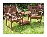 Hardwood Garden Bench Companion Set Henley Love Seat...