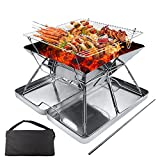 ZHZIRO BBQ Fire Pit Portable Campfire Pit Collapsible Stainless...