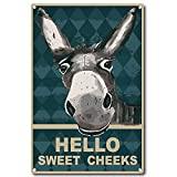 CREATCABIN Hello Sweet Cheeks Sign Vintage Donkey Tin Signs Funny...