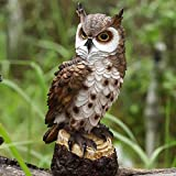 Garden Ornament Owl Figurine Realistic Owl Decoy with Rotating...