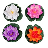 4 Pcs Artificial Foam Lotus Water Lily Flower Artificial Floating...