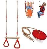 Set of Wooden Trapeze Monkey Bar Swing & Plate Disc Rope Swing...