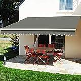 iropro DIY Patio Retractable Manual Awning, Garden Sun Shade...