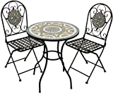 Woodside Blue Mosaic Garden Table And Folding Chair Set Outdoor...