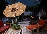 GlamHaus Garden Parasol Tilting Table Umbrella with Crank Handle,...