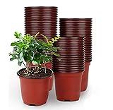LATERN 50Pcs 15cm Plastic Plant Flower Pots Lightweight Seed...