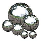 Apofly Stainless Steel Gazing Ball Garden Ornaments Seamless...