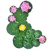 13 Pcs Pond Plants, 4 Size Artificial Lotus Leaves, Floating Foam...