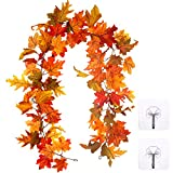 Whaline Artificial Autumn Fall Maple Leaves Garland Hanging Plant...
