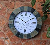 SLATE EFFECT GARDEN WALL CLOCK & THERMOMETER & HUMIDITY INDOOR...