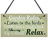 RED OCEAN Garden Rules Novelty Hanging Plaque Summer House Sign...