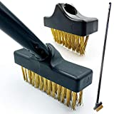 Patio Weed Remover Tool, Twin Pack Long Handle Weed Brush Set...