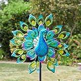 garden mile Magnificent Peacock Solar Power Garden Wind Spinner |...