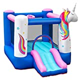 GYMAX Inflatable Jumping House, Unicorn Bouncy Castle with...