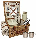 Red Hamper Wicker Willow Deluxe Fully Fitted 2 Person Traditional...