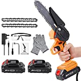 Mini Chainsaw Cordless, 6-Inch Battery Powered Chainsaw with 2...