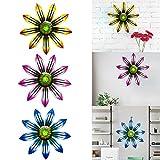 3 Pcs Colorful Metal Flowers Metal Art Craft Garden Ornament Wall...