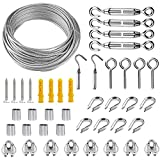 Garden Wire, 43 Pcs Cable Railing Kit, 20m/2mm PVC Coated Heavy...